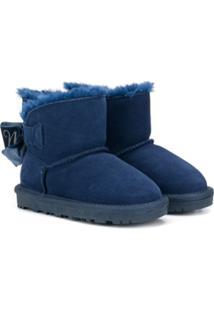 Monnalisa Ankle Boot Com Detalhe De Laço - Azul