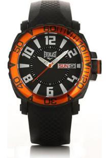 c60411fab40 ... Relógio Masculino Everlast Pulseira Silicone Analógico - Masculino-Preto +Laranja