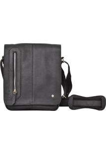 Bolsa Corazzi Leather Deluxe Carteiro Preta