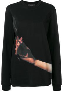 Yang Li Blusa De Moletom Com Estampa - Preto