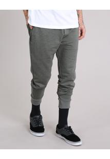 Calça Masculina Jogger Em Moletom Com Bolsos Verde Militar
