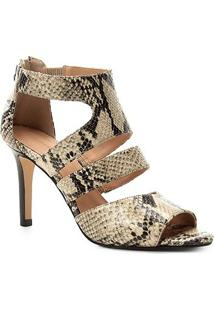 Sandália Couro Shoestock Animal Print Snake Feminina - Feminino-Bege