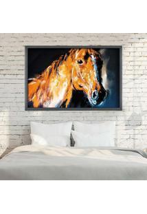 Quadro Love Decor Com Moldura Brown Horse Grafitti Metalizado Grande