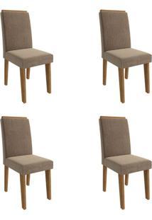 Conjunto Com 4 Cadeiras De Jantar Milena Suede Savana E Pluma