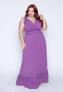 Vestido Longo Plus Size Lastex Feminino - Feminino-Roxo