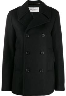 Saint Laurent Chaquetón Military Peacoat - Preto