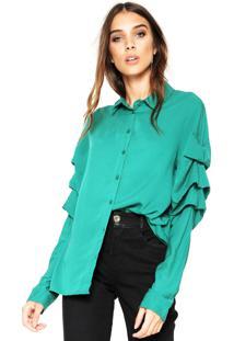 Camisa Colcci Babados Verde