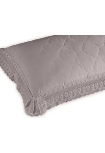 Porta Travesseiro Cristal Renascenã§A Com Renda- Cinza
