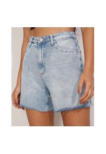 Bermuda Reta Jeans Cintura Super Alta Com Barra Desfiada Azul Médio