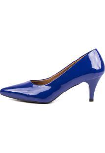 Scarpin Factor Salto Baixo - Verniz Azul Klein - Azul Marinho - Feminino - Dafiti