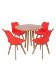 Conjunto Mesa De Jantar Em Madeira 90Cm Com Base Vértice + 4 Cadeiras Leda - Vermelho