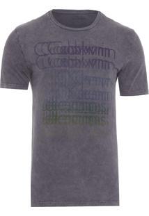 Camiseta Masculina Estampa Cromia Logo - Cinza