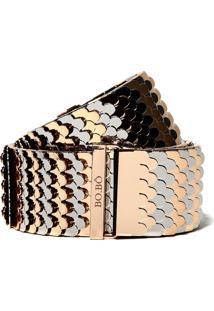 Cinto Bobô Scale Silver And Gold Listrado Feminino (Listrado, Gg)
