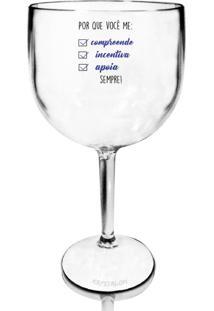 Taça Gin Acrílico Transparente Para Dia Dos Namorados