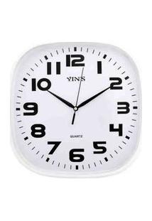 Relógio De Parede Retangular Sortido - 30Cm - Números Grandes Branco