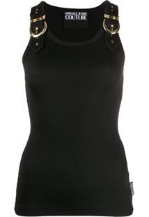 Versace Jeans Couture Regata Com Fivelas Nas Alças - Preto