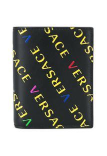 Versace Carteira Com Estampa De Logo - Preto