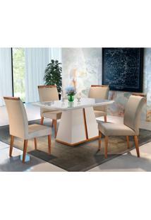 Conjunto De Mesa De Jantar Liz Com 4 Cadeiras Ciana Linho Off White