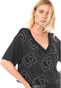 Camiseta Cropped Lança Perfume Aplicações Preta