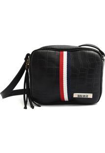 Bolsa Transversal Maria Milão Mini Bag Crocô Preta