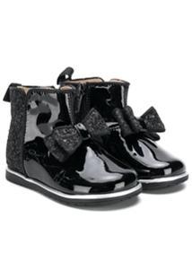 Florens Ankle Boot De Couro Com Aplicação - Preto