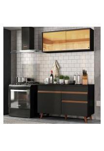 Cozinha Compacta Madesa Reims 120001 Com Armário E Balcão Preto Cor:Preto
