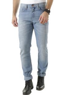Calça Jeans Reta Em Algodão + Sustentável Azul Claro
