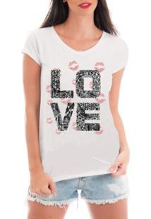T-Shirt Criativa Urbana Love Branco