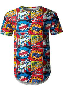 Camiseta Longline Over Fame Retro Pop Arte Multicolorido
