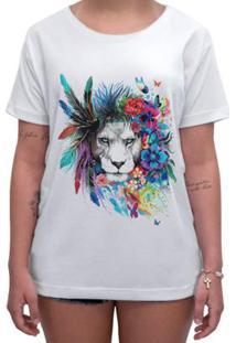 Camiseta Impermanence Estampada Leão Feminina - Feminino-Branco