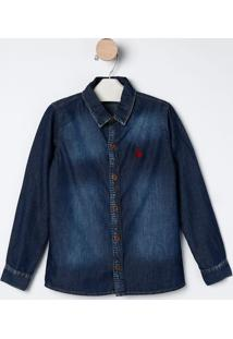 Camisa Jeans Com Bordado Frontal- Azul Escuro- Bakulbakulelê