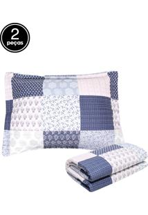 Kit 2Pçs Colcha Solteiro Corttex Attuale Boutis Emy Azul