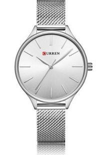 Relógio Curren Analógico C9024L Feminino - Feminino-Prata