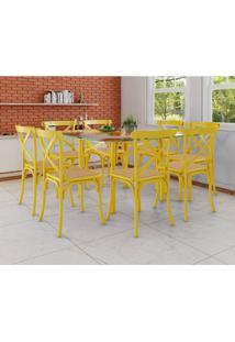 Conjunto De Mesa De Jantar Com 8 Cadeiras E Tampo De Vidro Katrina Amarelo
