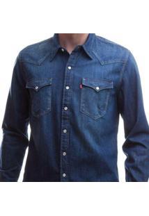 Camisa Jeans Levis Barstow Western Lavagem Média Masculina - Masculino-Azul