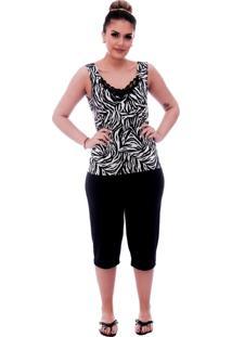 Baby Doll Ficalinda De Blusa Alça Estampa Animal Print De Zebra Com Renda Gripir Preta No Decote E Bermuda Midi Preta