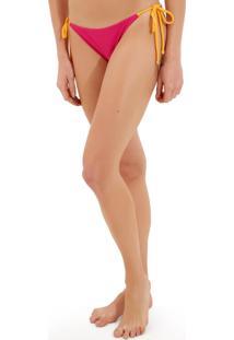 Calcinha Rosa Chá Basic Canelado Bicolor Beachwear Amarelo Rosa Feminina (Amarelo/Rosa, Gg)