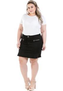 Saia Curta Jeans Com Babado Preta Plus Size Feminina - Feminino-Preto
