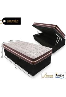 Cama Box Ba㺠Solteiro + Colchã£O De Molas - Anjos - Classic Superlastic 88X188X64Cm Preto - Bege/Branco/Cinza/Marrom/Preto - Dafiti