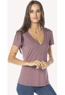 Camiseta Cora Básico Decote V Modal Feminina - Feminino-Rosê