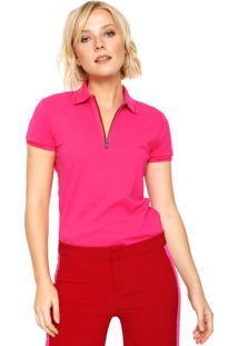 Camisa Polo Calvin Klein Jeans Zíper Rosa
