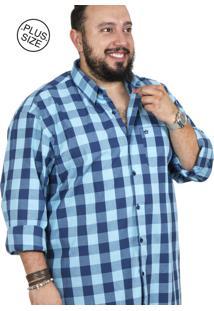 Camisa Plus Size Bigshirts Manga Longa Xadrez Azul/Azul Claro