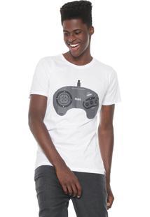 Camiseta Tectoy Mega Drive Sega Front Joystick Branca
