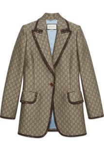 Gucci Gg Wool Canvas Jacket - Neutro
