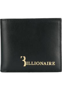 Billionaire Carteira De Couro Com Logo - Preto