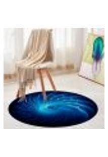Tapete Redondo Wevans Abstrato Azul 84Cm