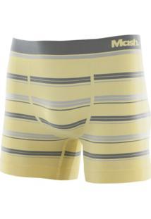 Cueca Boxer Microfibra Sem Costura Listrada Amarelo Claro P