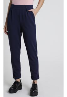 Calça Feminina Carrot Alfaiatada Com Bolsos Azul Marinho