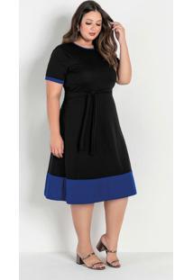 Vestido Preto E Azul Com Faixa Grátis Plus Size