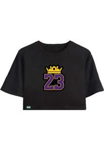 Blusa Cropped La Faire Lebron James La Lakers - Preto